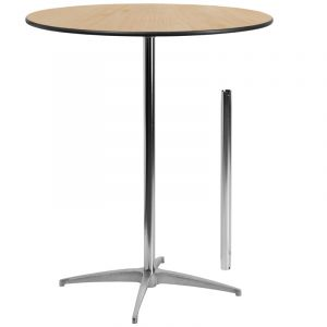 HUSKY Seating® Heavy Duty 3' ft Round Indoor-Outdoor Wood Pub Bar Cocktail Table with Adjustable Height