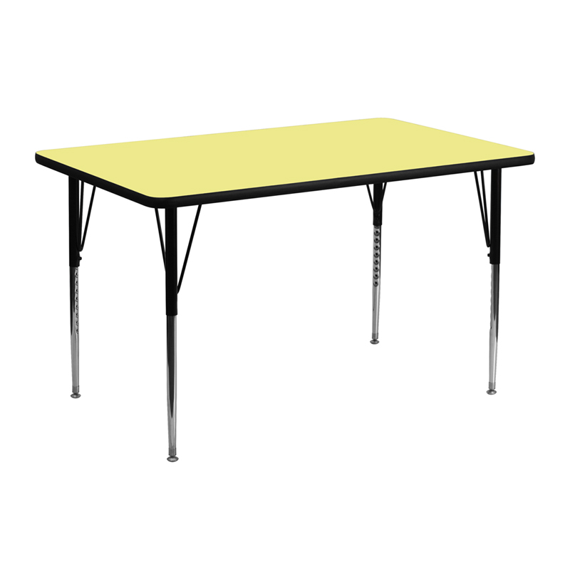 """Heavy Duty 24"""" W x 48"""" L Thermal Fused Laminate Height Adjustable Activity Table"""