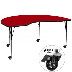 """Heavy Duty 48 """" W x 72 """" L Mobile Kidney Shaped Thermal Fused Laminate Activity Table"""