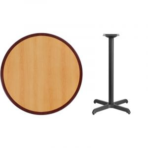 HUSKY Seating® Commercial Round Two-Tone Restaurant Table & X Base