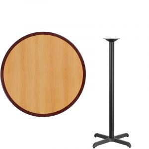 HUSKY Seating® Commercial Bar-Height Round Two-Tone Restaurant Table & X Base