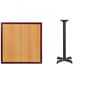 HUSKY Seating® Commercial Square Two-Tone Restaurant Table & X Base