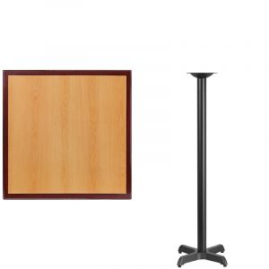 HUSKY Seating® Commercial Bar-Height Square Two-Tone Restaurant Table & X Base