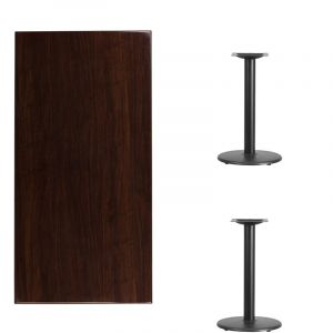 """HUSKY Seating® Commercial Resin Rectangle Table Top & Standard Height Round Base-Walnut-30"""" W x 60"""" L"""
