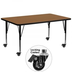 "Heavy Duty 30"" W x 72"" L Mobile Rectangular Activity Table with  Thermal Fused Laminate Top"