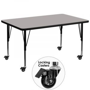 "Heavy Duty 36"" W X 72"" L Mobile Rectangular Activity Table with High Pressure Laminate Top"