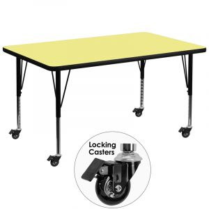 "Heavy Duty 36"" W x 72"" L  Mobile Rectangular Activity table with Thermal Fused Laminate Top"