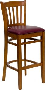 HUSKY Seating® 800 LB Cherry Vertical Slat Back Wooden Restaurant Bar Stool with Vinyl Seat