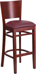 HUSKY Seating® 800 LB Solid Back Wooden Restaurant Bar Stool with Vinyl Seat