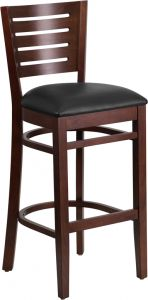 HUSKY Seating® 800 LB Slat Back Walnut Wooden Restaurant Bar Stool with Vinyl Seat