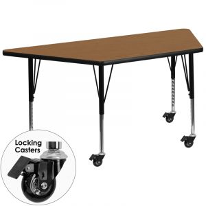 "Adjustable Height 30"" W x 60"" L Mobile Trapezoid Thermal Fused Laminate Preschool Activity Table"