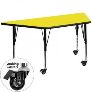 "Adjustable Height 30"" W x 60"" L Mobile Trapezoid High Pressure Laminate Preschool Activity Table"