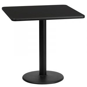 "HUSKY Seating® Commercial 24"" Square Laminate Restaurant Table & Round Base"