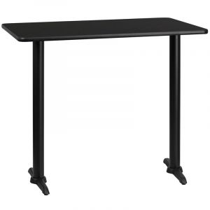 "HUSKY Seating® Commercial Bar Height 30"" x 48"" Rectangular Laminate Restaurant Table & Dual Bases"