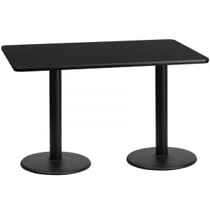 "HUSKY Seating® Commercial 30"" x 60"" Rectangular Laminate Restaurant Table & Dual Round Bases"