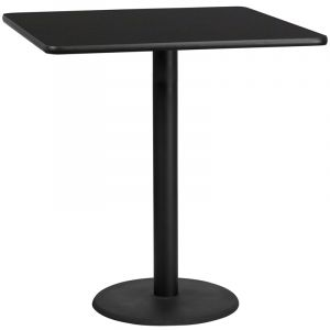 """HUSKY Seating® Commercial Bar Height 42"""" Square Laminate Restaurant Table & Round Base"""