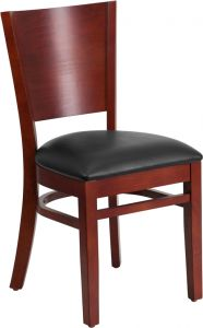 HUSKY Seating® 800 LB Solid Back Mahogany Wooden Restaurant Chair with Vinyl Seat
