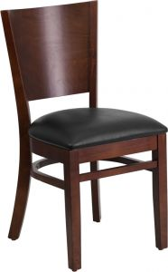 HUSKY Seating® 800 LB Solid Back Walnut Wooden Restaurant Chair with Vinyl Seat