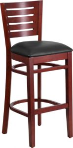 HUSKY Seating® 800 LB Slat Back Mahogany Wooden Restaurant Bar Stool with Vinyl Seat