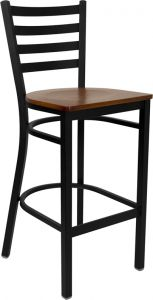HUSKY Seating® Heavy Duty 500 LB Restaurant Bar Stool with Ladder Back & Wood Seat