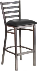 HUSKY Seating® Ladder Back Commercial 500 LB Bar Stool with Steel Finish