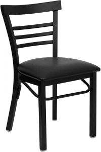 HUSKY Seating® Heavy Duty Black Metal 500 LB Restaurant Chair with Ladder Back