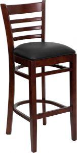 HUSKY Seating® Mahogany Finish Wooden Restaurant 800 LB Bar Stool with Ladder Back & Padded Vinyl Seat