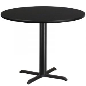 "HUSKY Seating® Commercial 42"" Round Laminate Restaurant Table & X Base"