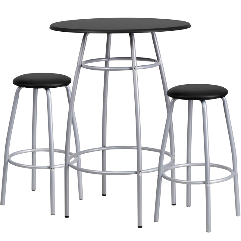 Black Top Bar Stool & Table Set