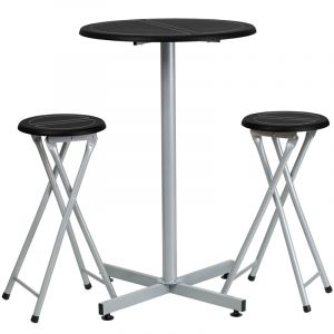Black Top Bar Table with Two Folding Bar Stools