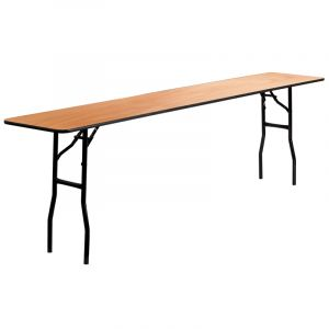 "Extra Long Wood Folding Training Table with Clear Coated Top 18"" W x 96"" L"