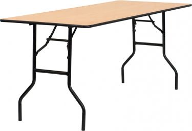 """Wood Folding Table with Clear Coated Top 30"""" W x 72"""" L"""