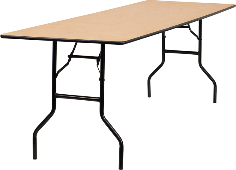 "Extra Long Wood Folding Table with Clear Coated Top 30"" W x 96"" L"