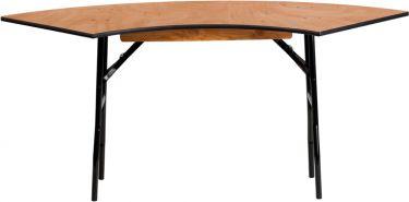 5.5' L X 2' W Serpentine Wood Folding Banquet Table
