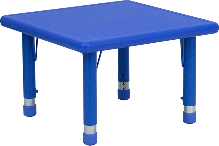"Adjustable Height 24"" W x 24"" L Square Plastic Preschool Activity Table"
