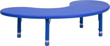 "Adjustable Height 35"" W x 65"" L Half-Moon Plastic Preschool Activity Table"