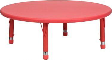 "Adjustable Height 45"" Round Plastic Preschool Activity Table"