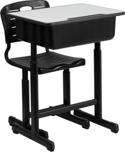 Adjustable Height Student Desk & Chair Set with Black Frame