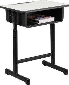 Student Desk with Adjustable Height & Book Storage Compartment