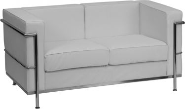 Heavy Duty Expert Series Modern Leather Loveseat with Silver Frame