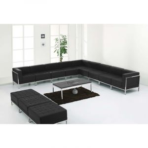 Ares Series Leather 12 Piece Sectional & Ottoman Lounge Set
