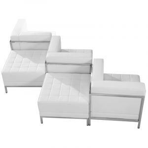 Ares Series Leather 5 Piece Chair & Ottoman Lounge Set