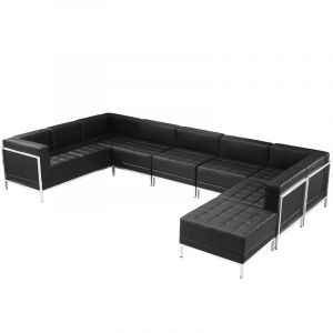 Ares Series Leather 7 Piece U-Shape Sectional Lounge Set