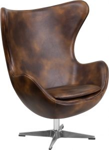 Leather Egg Lounge Chair With Tilt Lock Mechanism