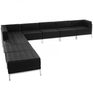 Leon Series 9 Piece Leather L Shaped Sectional Reception Set