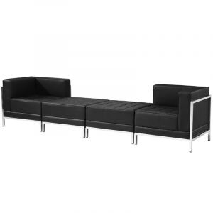 Ares Series Leather 4 Piece Chair & Ottoman Lounge Set