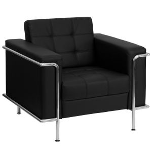 Encore Series Modern Leather Chair with Silver Frame