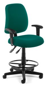Ergonomic Adjustable Drafting Stool with Lumbar Support & Arms by OFM
