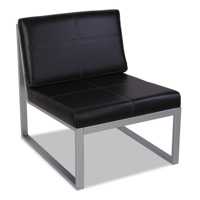 Alera Armless Cube Black Leather Reception Waiting Room Guest Chair