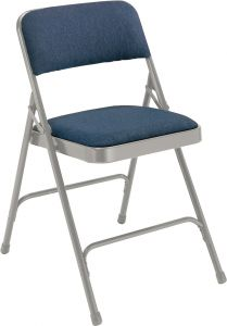 4 PACK National Public Seating 2200 Series Fabric Padded Metal Folding Chair